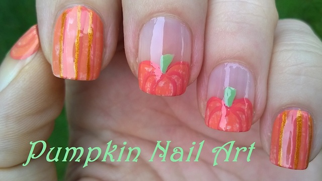 Pumpkin nail art design for fall prinsesfo Choice Image