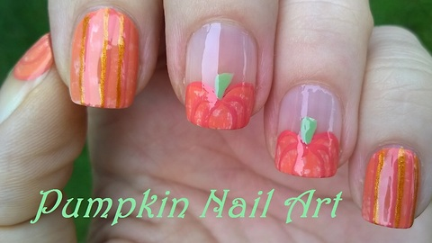 Pumpkin nail art design for fall