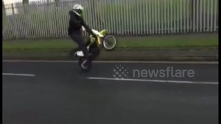 Merseyside man pops a wheelie and gets instant karma