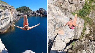 Video Shows Talented Diver Jumping From Cliffs Around The World