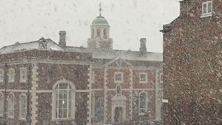Snow Falls Along City Walls in Chester - Video