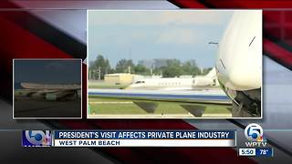 President Trump's visit to Palm Beach County impacts private plane industry - Video