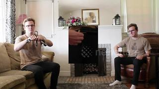 Man creates song about his trousers using them and his belt as instruments - Video