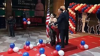 Topless Protester Interrupts Unveiling of Trump Waxwork in Madrid - Video