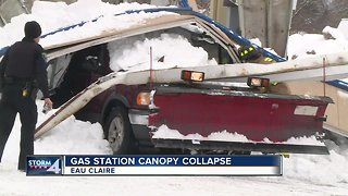 Vehicle trapped after Eau Claire gas station overhang collapses