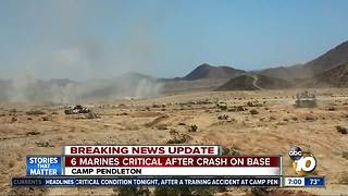 6 Marines critical after crash on base - Video