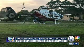 Toddler struck by a vehicle expected to make a full recovery - Video