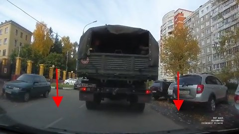 Russian Military Truck Reverses and hits the car. The reason given is just Epic