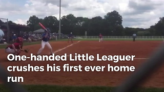 One-Handed Little Leaguer Crushes His First Ever Home Run - Video