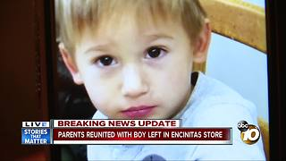 Parents reunited with boy left in Encinitas store - Video