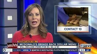 McDonald's bringing back dollar menu