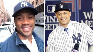 Russell Wilson JOINS the Yankees, Calls Out Giancarlo Stanton and Aaron Judge - Video