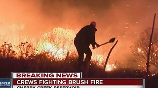 Brush fire burns at Cherry Creek Reservoir - Video