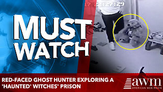 Red-faced ghost hunter exploring a 'haunted' witches' prison - Video