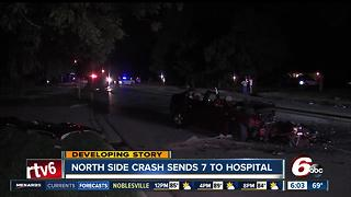 Crash on northwest side sends 7 to the hospital - Video