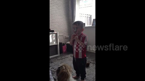 UK toddler has adorable victory dance after beating parents with spoon-on-nose trick