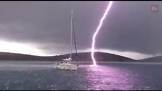 Viral Video UK: Lightning strike nearly hits boat!