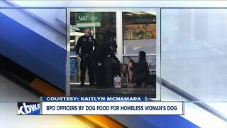 Buffalo Police officers buy food and treats for homeless woman's dog - Video