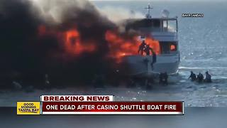 1 dead, 14 injured after casino shuttle boat carrying 50 catches fire in Port Richey - Video