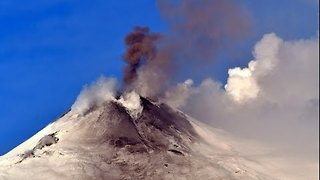 Smoke Rises from Sicily's Mount Etna