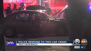 Police respond to 2-car crash in West Palm Beach - Video