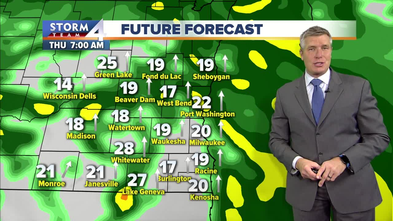 Rain and gusty winds late tonight and Thursday