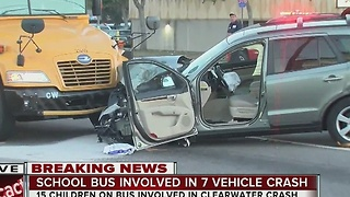 7 vehicle crash including school bus closes down Sunset Point Rd. under US 19 - Video