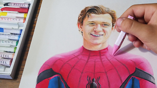 Hyperrealism time lapse drawing of Tom Holland as Spider-Man  - Video