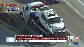 Two-vehicle crash near Glades Central High School - Video