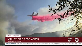 Valley Fire scorches 9,850 acres in San Diego's East County
