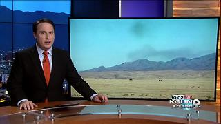 Fire near Benson, smoke visible over Whetstone Mountains - Video