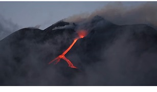 Channels of Lava Flow Down Mount Etna