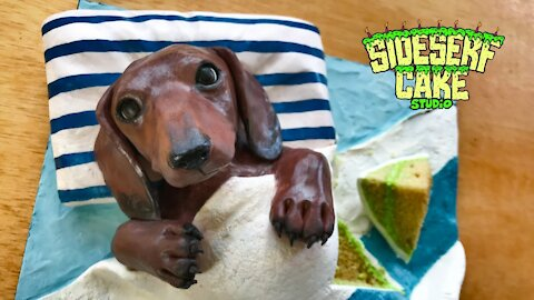 How to make a realistic wiener dog cake