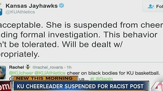 KU cheerleader suspended for racist post - Video