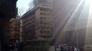Fire Burns in Gauteng Premier's Office - Video