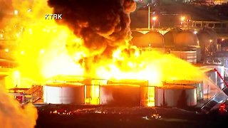 AERIALS | Firefighters battle massive fire at petrochemical plant in Texas - Video