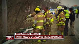 Patient being transported by EMS dead after ambulance overturns into ravine in Vermilion - Video