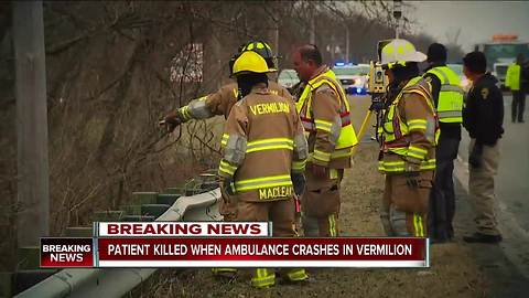 Patient being transported by EMS dead after ambulance overturns into ravine in Vermilion