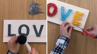 How to make a string art project with wool and nails - Video