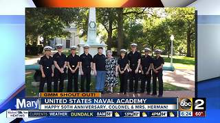 Good morning from Colonel, Mrs. Herman celebrating 50 years after meeting at United State Naval Academy - Video