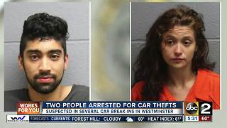 Two people arrested for car thefts in Carroll County - Video