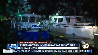 Docked boat catches fire at Shelter Island