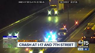 Driver crashes into median on I-17 near 7th Street - Video
