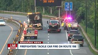 Firefighters tackle car fire on Route 198 - Video