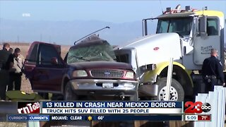 13 killed in crash near Mexico border, truck hits SUV filled with 25 people
