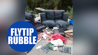 Brazen fly-tippers dump a MILE'S worth of rubbish along a single country lane - Video