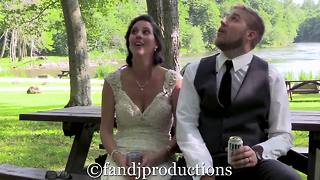 Couple nearly hit by falling tree branch on wedding day - Video