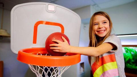 If at first you don't succeed…Girl manages awesome basketball trick shots