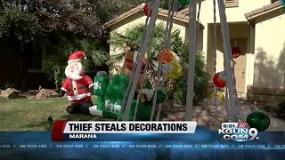 Thief steals holiday decoration from Marana house - Video