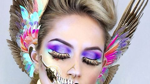 Lovely bones! Blonde beauty's amazing 3D make-up skull looks take up to 12 hours to complete